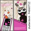 vector set of two cards with an abstract bunny and a calling phone - stock vector