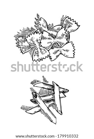 Vector set of two hand drawn type of pasta: penne and farfalle