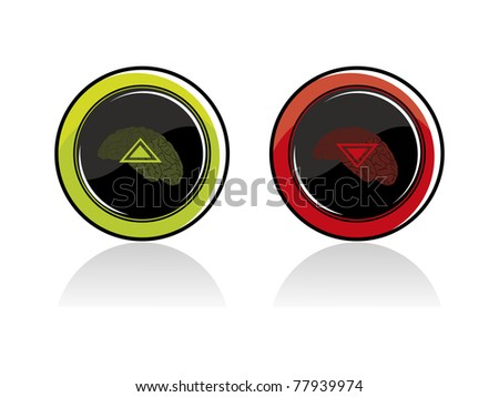vector set of two i.q research icon with abstract background - stock vector