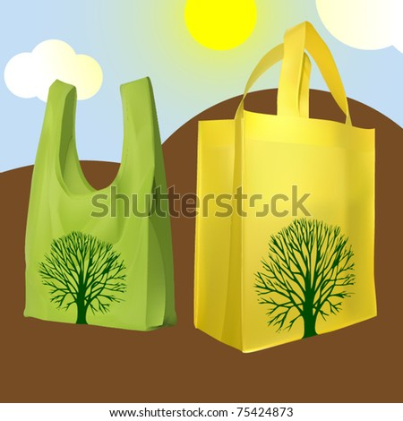 vector set of two reusable shopping bags - stock vector