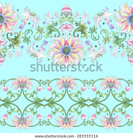 Vector set of two seamless borders. Imitation of chinese porcelain painting. Lotus flowers and leaves are painted by watercolor.   - stock vector