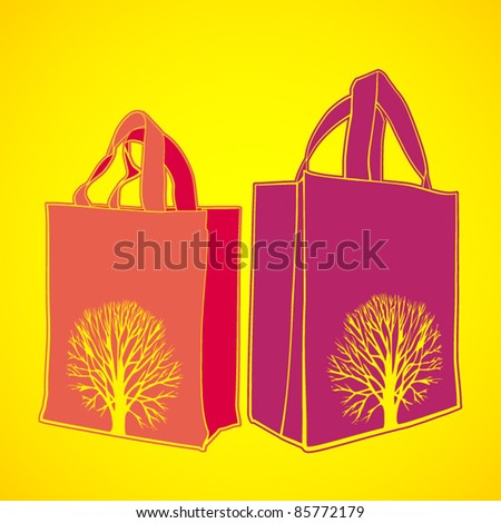 vector set of two shopping bags - stock vector