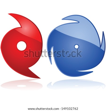 Vector set of two weather icons representing hurricanes or typhoons - stock vector