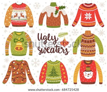 Vector Set Ugly Christmas Sweaters Norwegian Stock Vector ...