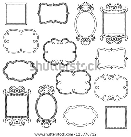 Vector Set of Unfilled Doodle Frames and Borders - stock vector