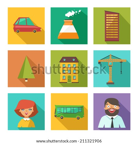 Vector set of urban city icons in flat design on colorful square buttons - stock vector