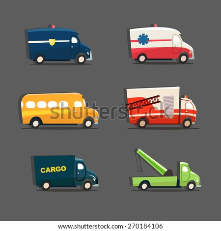 Vector set of urban vehicles featuring police car, ambulance, school bus, fire truck, tow truck and cargo truck - stock vector
