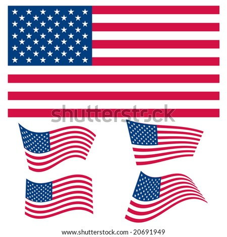 Vector set of US flag graphics