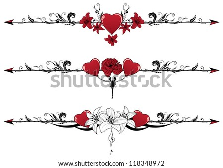 vector set of Valentine borders with hearts, scorpion and flowers - stock vector