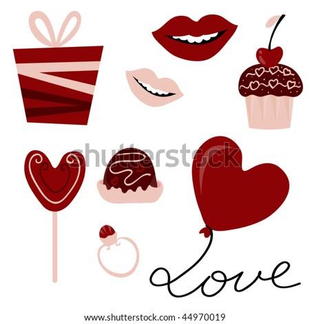 vector set of Valentine's day elements - stock vector