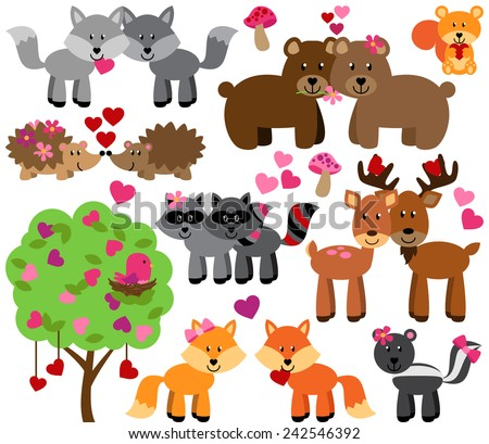 Vector Set of Valentine's Day or Love Themed Forest Animals - stock vector
