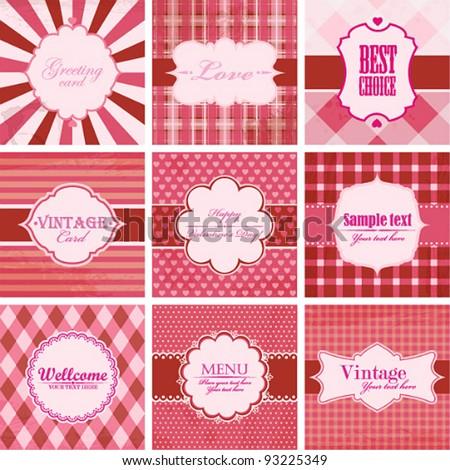 Vector set of valentine's day vintage backgrounds.