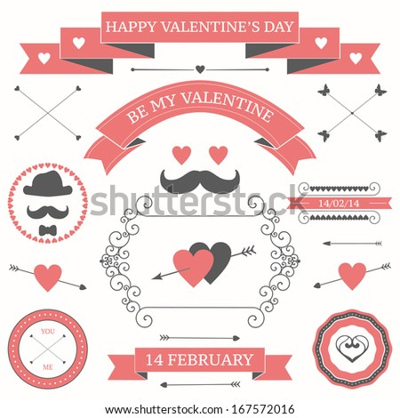 Vector set of valentine's day vintage design elements. icons, labels, arrows - stock vector
