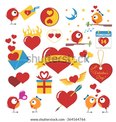Vector Set Of Valentines Day Icons. Isolated On White Background. - stock vector