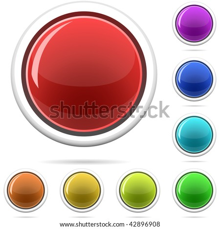 Vector set of varicolored spherical glossy buttons isolated on white.