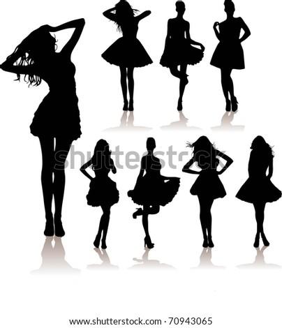 vector set of various beautiful girls - stock vector