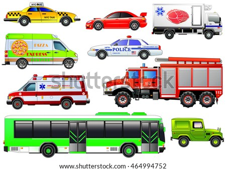 Vector set of various city urban traffic vehicles. Icons. Taxi, police car, delivery van, refrigerator truck, bus, fire engine, sports car, ambulance and four-wheel drive. Side view isolated