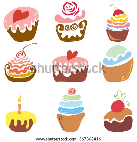 vector set of various cupcakes with toppings and flavors/many delicious festive cakes