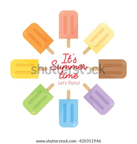 Vector set of various flavor popsicles isolated on white background. Rainbow color popsicles. - stock vector