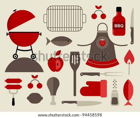 Vector set of various food barbecue icons - stock vector