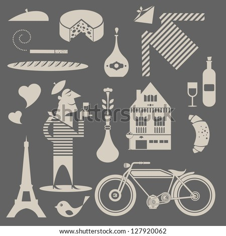 Vector set of various icons about france