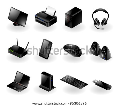 Vector set of various modern computer hardware icons - stock vector