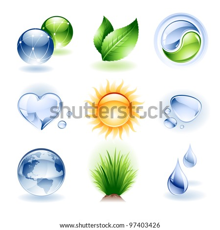 Vector set of various nature icons / design elements - stock vector