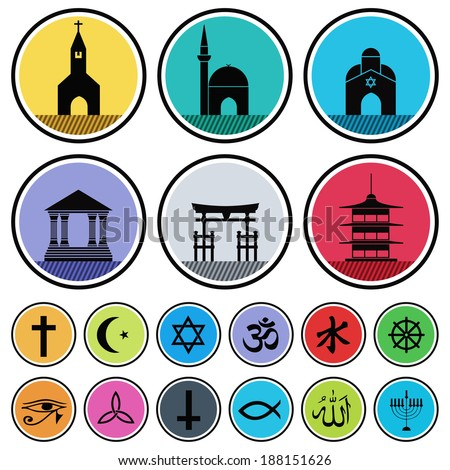 vector set of various religious icons - stock vector