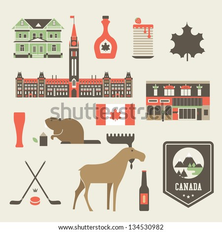 Vector set of various stylized canada icons - stock vector