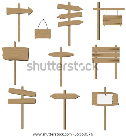 Vector set of various wooden signs. - stock vector