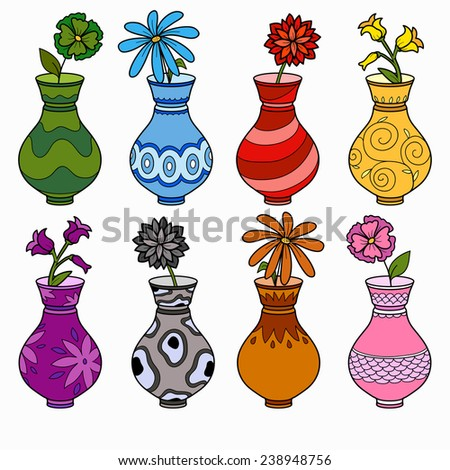 Vector set of vases, study of colors for children - stock vector