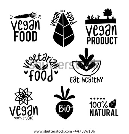 Vector set of vegan, green and organic products labels and badges - collection of different icons and illustrations related to fresh and healthy food