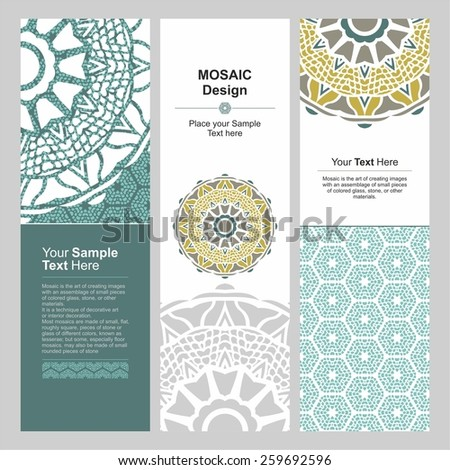 Vector set of vertical banners with abstract mosaic motifs. Headers set - stock vector