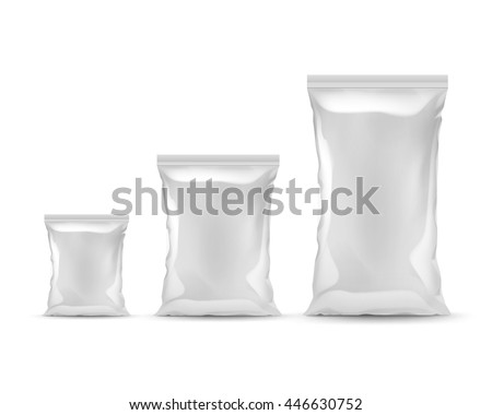 Vector Set of Vertical Sealed Empty Plastic Foil Bags of Different Size for Package Design with Smooth Edges Front View Close up Isolated on White Background - stock vector