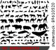 Vector set of 100 very detailed animal silhouettes - stock vector