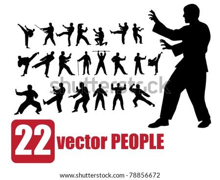 Vector set of 22 very detailed people karate - stock vector