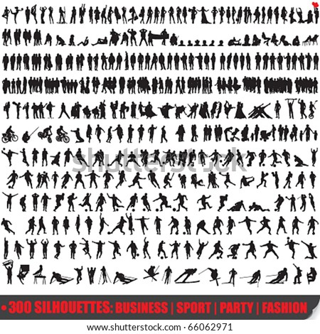 Vector set of 300 very detailed people silhouettes - stock vector