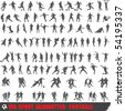 Vector set of 100 very detailed soccer silhouettes - stock photo