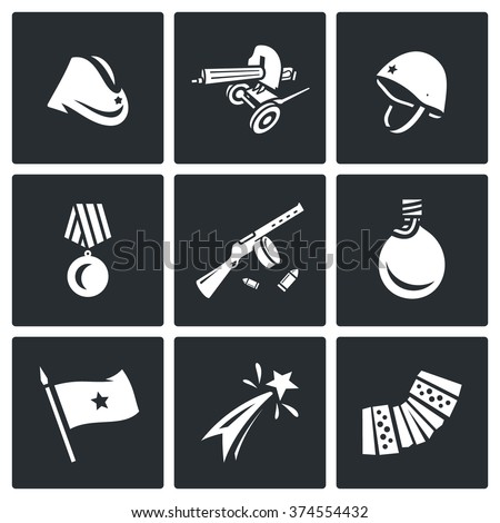 Vector Set of Victory Day in Russia Icons. Garrison cap, Machine gun, Helmet, Order, Submachine, Flask, Flag, Firework, Harmonic. Hat, Weapon, Medal, Gun, Water, Banner, Celebration, Music.