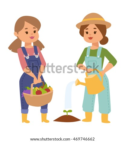 Vector set of village farmers people with organic food, flowers and plants. Summer character vegetables garden harvest farmers people. Agriculture farmers people work plant nature gardening.