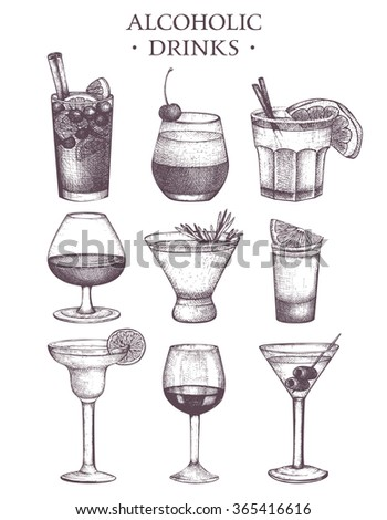 Vector set of vintage alcoholic drinks sketch. Ink hand drawn beverage illustrations for bar or restaurant menu isolated on white background - stock vector