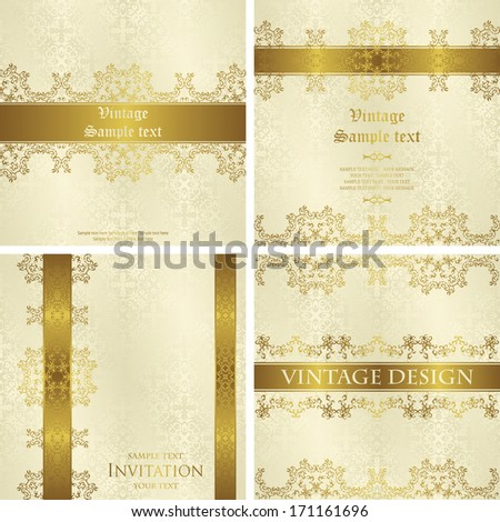 Vector set of vintage backgrounds with decorative gold ribbons. Seamless wallpaper in pastel colors. Can be used as card or invitation
