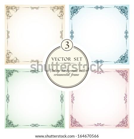 Vector set of vintage backgrounds with decorative ornamental frames  - stock vector