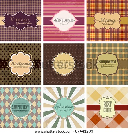 Vector set of vintage backgrounds with place for text. - stock vector