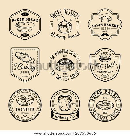 Vector set of vintage bakery logos. Retro emblems collection with sweet cookie: biscuit, cupcake, muffin, croissant. Hipster pastry icons. Desert elements. Loaf and bread isolated. - stock vector