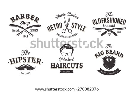 Vector set of vintage barber shop emblems. Barber shop logo templates.  - stock vector