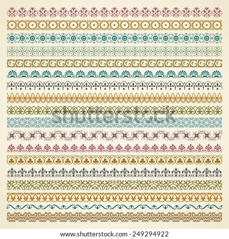 Vector set of vintage borders in color