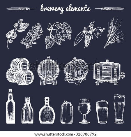 Vector set of vintage brewery elements. Retro collection with beer elements. Brewery signs. Beer icons set. Old brewery.  Brewery sketch. Beer bar. Brewery background. Craft beer. Beer  illustration. - stock vector