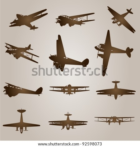 Vector set of vintage brown planes or aircraft for flight or transportation designs on a beige old background - stock vector