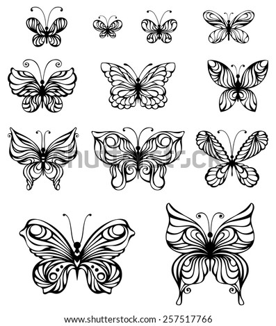 Vector set of vintage butterflies. Hand-drawn ornate butterflies isolated on white background.  - stock vector